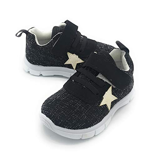Blue Berry Baby's Boy's Girl's Casual Light Weight Breathable Strap Sneakers Running Shoe (6 M US Toddler, 824BLACK)