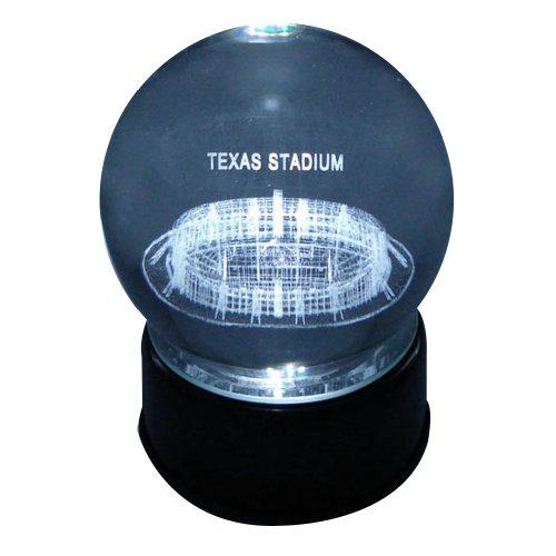 Dallas Cowboys Texas Stadium Laser-Etched Musical Lit Crystal Ball (Etched Stadium Crystal Ball)