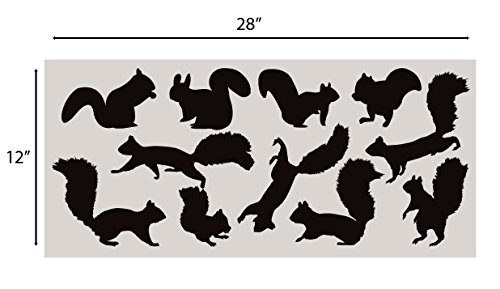 Squirrel Wall Decal Nursery Sticker Set Add To Tree Wall Decals Decor For Kids Rooms #1250 (12 Squirrel Decals Included) (Matte Black)