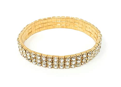 SIMPLICHIC - Women's Genuine Austrian Rhinestone Crystal Stretch Bracelet | Gold & Silver Alloy Single Row or Triple Row Design | Gift Sets Available