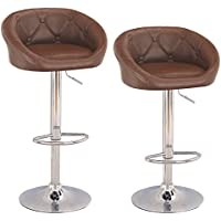Adeco Hydraulic Lift Cushioned Adjustable Swivel Counter Barstool With Button Tufted Faux Leather Low Back - Brown Color - Adjustable Height 31-40 Inches - Set of 2