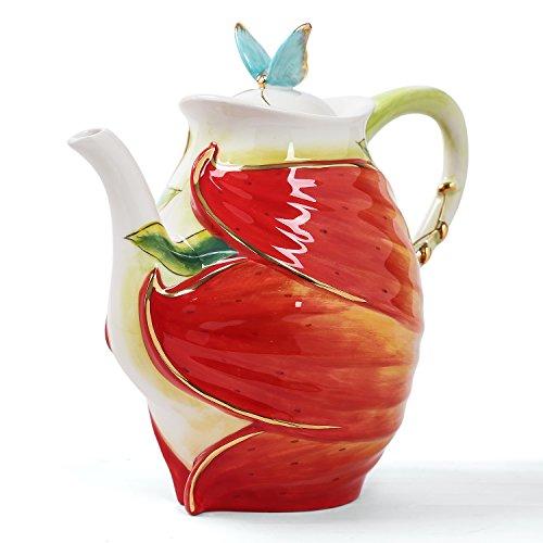 FORLONG FL5010 China Tea Set Porcelain Teapot,Tea Cups Fortune Peony Flower (Teapot Set Porcelain)