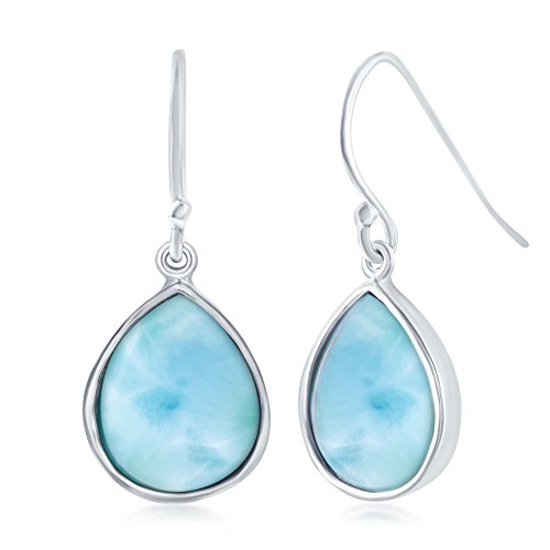 Sterling Silver High Polish Bezel-Set Natural Larimar Teardrop Earrings