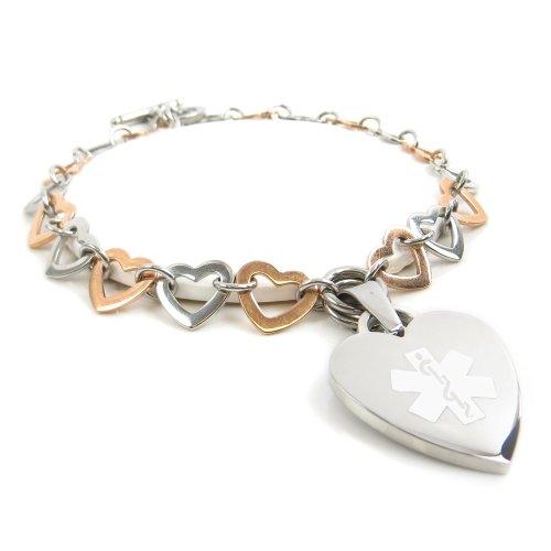 My Identity Doctor- Medical ID charm bracelet Colored Steel Hearts, Blank White Wrist Sz 7.5