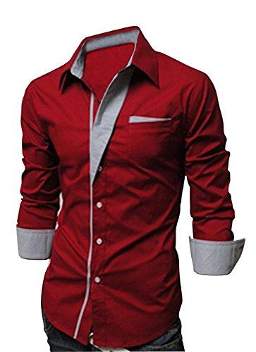 Keral New Designer Luxury Slim Fit Dress Men's Shirts Casual Shirts Red M