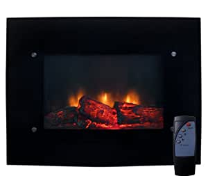 New Electric Glass Wall Mount Fireplace With Heater & Remote Control