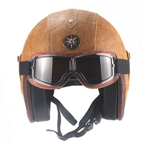 LYJNBB Half Motorcycle Helmet, Open Face Vintage Harley Helmets with Goggles Quick Release Strap Fit for Bike Cruiser Scooter DOT Approved,Brown,S
