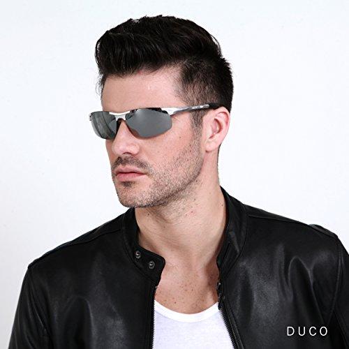 para con UV400 ultraligero de irrompible sol 100 hombre polarizadas Mirror Gafas Silver Duco deportivas marco metal y 8177S de WqXZnBC0
