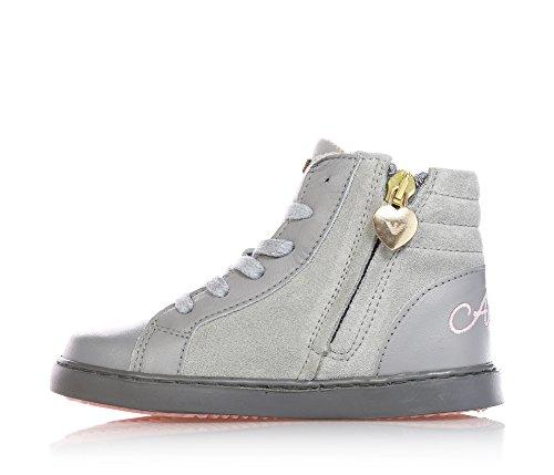 ARMANI - Graue Sneakers aus Leder und Wildleder, mit Schnürsenkeln, Mädchen