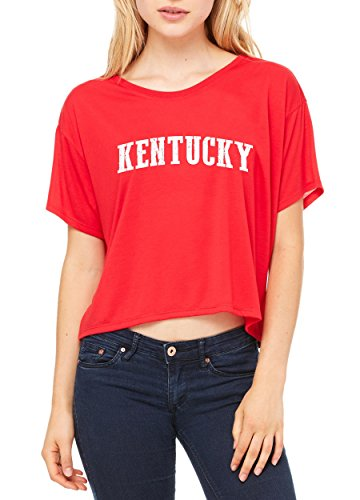 Ugo KY Kentucky Map Louisville Flag Wildcats Home of University of Kentucky Women's Flowy Boxy T-Shirt - Dress Louisville Shops