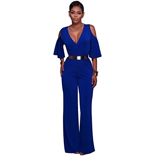 Wide Belted Jeans (LKOUS Women's Sexy V Neck Wrap Top Belted Wide Leg Long Jumpsuits)