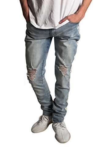 9e95f372c4a KDNK Men s Tapered Skinny Fit Stretch Denim Ankle Zip Striped Track Jeans  (30