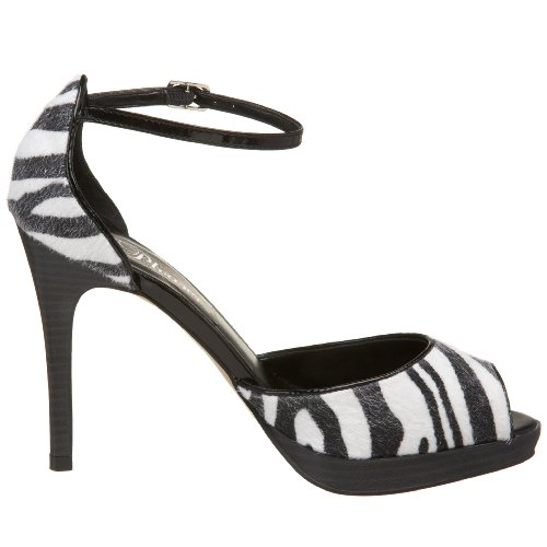 Pleaser Damen Bliss-33 Peep-Toe, Zebra, Talla Zebra Pony Haar