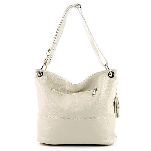sac sac de modamoda dames T143 en épaule cuir ital Crème sac d'épaule en cuir qYEn4Eg