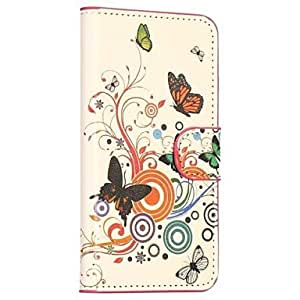 Fashionable Butterfly and Flowers Pattern Card Slot Stand Leather Case for Samsung Galaxy S5