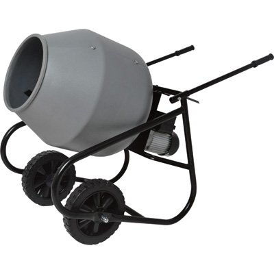 Klutch Portable Electric Cement Mixer -2 Cubic Ft. Poly Drum