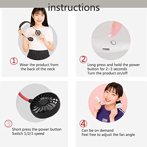 YES.YM Neckband Fan Hand Free Personal Fan Portable USB Battery Rechargeable Mini Fan,3 Speed Adjustable for Outdoor Traveling Indoor Office Room(M)