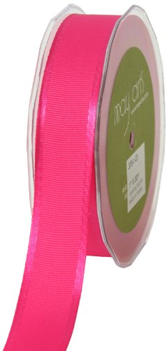 May Arts 1-Inch Wide Ribbon, Hot Pink Grosgrain with Satin Edge by May Arts