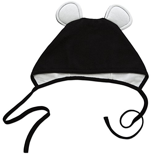 [Amoureux Bebe Ultra Soft Turkish Cotton Baby Hat Bonnet with Bunny Ears. Black] (Kitty Newborn Baby Costumes)