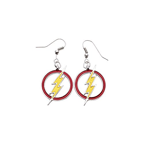 DC+Comics Products : DC Comics Silvertone The Flash Color Lightning Bolt Logo Dangle Earrings with Gift Box)