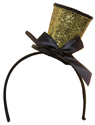Jacobson Hat Company Women's Mini Top Hat Headband with Bow 1, Gold, Adjustable ()