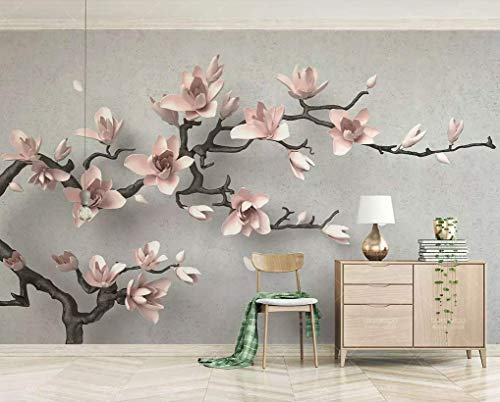 Murwall 3D Embossed Floral Wallpaper Magnolia Blossom Wall Mural Soft Flower Wall Art Classical Home Decor Living Room Entryway