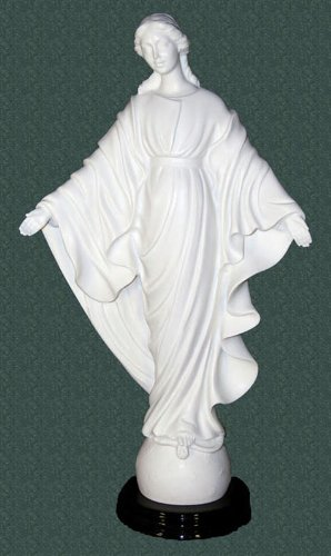 (St. Mary, Our Lady of the Smiles Statue by Ennio Furiesi in white alabaster on a quality wood base, 16