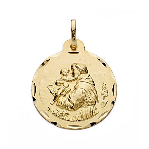 Médaille pendentif San Antonio de l'or 22mm 18k. [AA0571GR] - personnalisable - ENREGISTREMENT inclus dans le prix