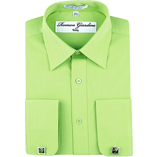 (Roman Giardino Men's Dress Shirt Honeydew Green Long Convertible Sleeve Collar Machine Washable Free Cufflink 16.5 32/33)