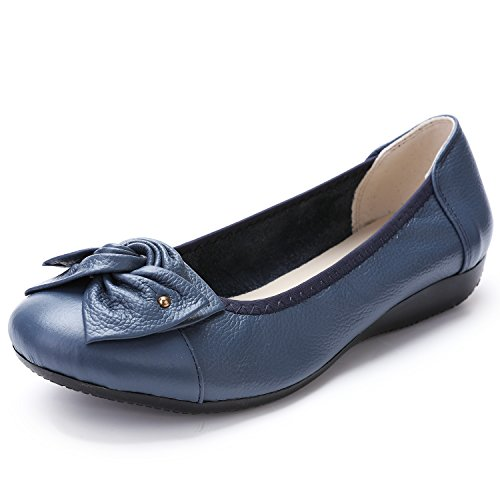 Odema Womens Leather Slip ONS Loafers Flats Moccasins Driving Shoes Casual Walking Shoes 11Colors Size 6.5-9.5 Blue