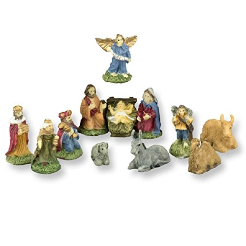 Dollhouse Miniature 12 Piece 3/4 Inch Tall Hand Painted Nativity -
