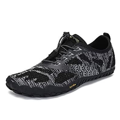 SAGUARO Mens Womens Barefoot Gym Walking Trail Beach Hiking Water Shoes Black Size: 5.5 Women/4 Men