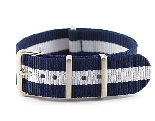 N.IX STUDIO - NATO Watch Bands Nylon Straps Width 16mm with Stainless Steel Buckle for Men Women - Navy White (Silver Buckle)