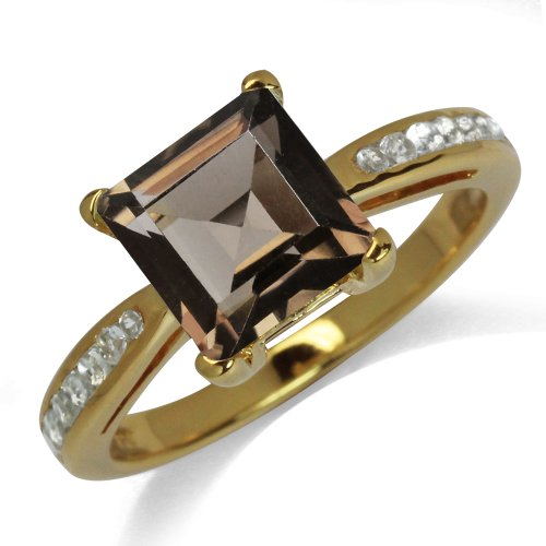 Smoky Quartz&Topaz 14K Gold Plated 925 Sterling Silver Engagement Ring SZ Size 9