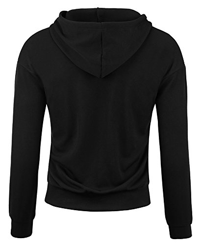 Hoodies For Men Solid Colors Pullover Hooded Sweatshirts (Large, Black) by Payeel (Image #2)