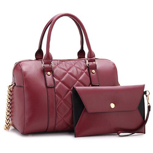 Fully Lined Quilted Wallet - Lady Barrel Designer Satchel Handbags Quilted Vegan Leather Shoulder Bags Purses for Women with Shoulder Strap