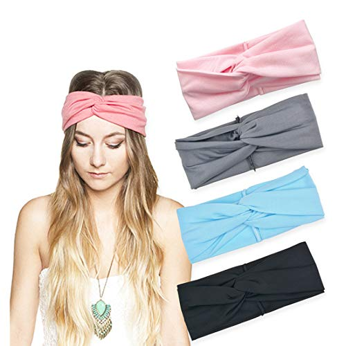 DRESHOW 4 Pack Turban Headbands for Women Hair Vintage Flower Printed Cross Elastic Head Wrap