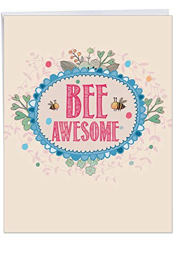 J6548HGDG Jumbo Graduation Greeting Card: Let It Bee, Featuring a Sweet Bumblebee Combined with a Floral Frame and a Cute Bee Saying, With Envelope 8.5 x 11 Inch