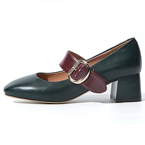 Pumps KemeKiss Classic Women Green Block Heel w6IaSq