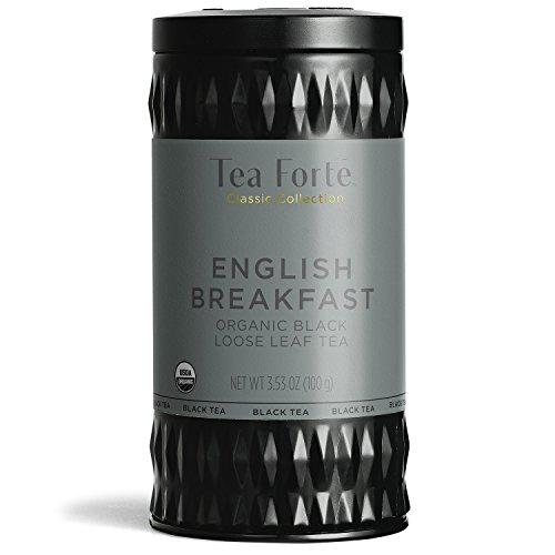 Tea Forté Organic Black Tea ENGLISH BREAKFAST (35-50 Cups) 3.53 Ounce Loose Leaf Tea Canister ()