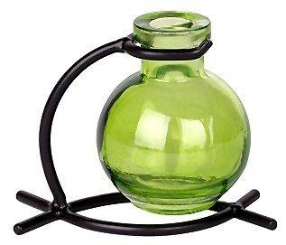 French Decor Green Ball Vase With Black Metal Stand 1/pc ~ G82F Floral vase ~ Bud Vase ~ Flower Vase ~ Decorative Vase ~ Incense Holder