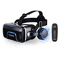 JIAX Wireless VR Realidad Virtual 3D Glasses + Bluetooth Smart Remoto Gamepad de Control de Google cartón, Eye Care System para iPhone y teléfonos Inteligentes Android
