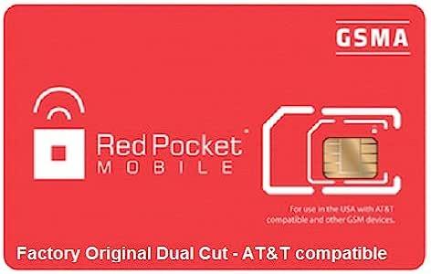 Red Pocket Dual Cut Gsma Sim Card AT&T Compatible Micro and Regular