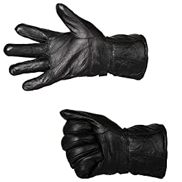 DHISHUM Men's Soft Leather Snow Proof Warm Winter Protective Riding Gloves for Cycling and Motorcycle, Large (Black)
