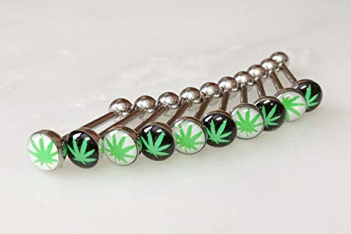 - Marijuana Pot Leaf Dome Logo 14g Tongue Ring Wholesale Body Jewelry 10 pcs