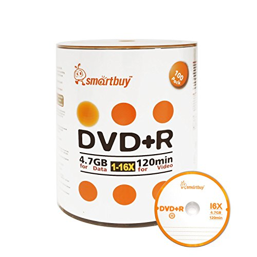 Smartbuy 100-disc 4.7gb/120min 16x DVD+R Logo Top Blank Data Recordable Media Disc by Smartbuy