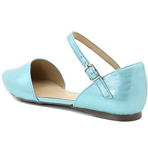 Ballet Breckelles toe Pointy Flat Seafoam Womens Ankle Color Strap Dorsay Blue ZIUaqq