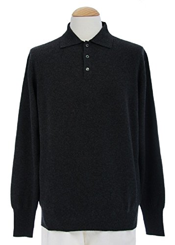 Shephe 4 Ply Men's Polo Cashmere Sweater with 3-button Charcoal Grey XX-Large