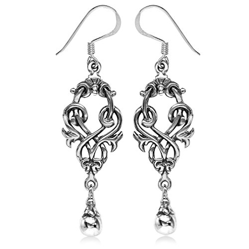 925 Sterling Silver Victorian Style Dangle (Victorian Style Earrings)