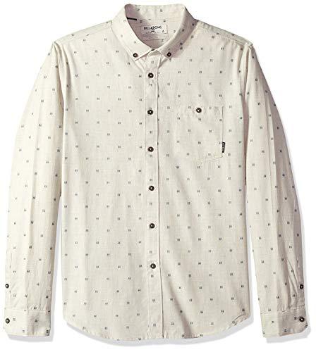 (Billabong Men's All Day Jacquard Long Sleeve Shirt Stone Heather Large)